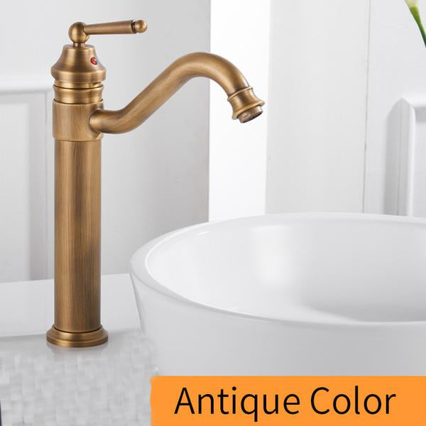 Gold Plated Deck Mounted Bathroom Faucet Brass Single Handle Crane ...