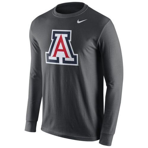 NCAA ARIZONA WILDCATS CTN LOGO NIKE LS TEE - ANTHRACITE