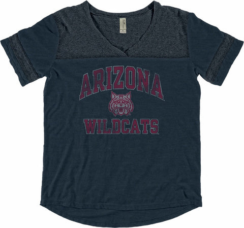 NCAA Arizona Wildcats Women's Rational Varsity Blue84 Ringer Tee