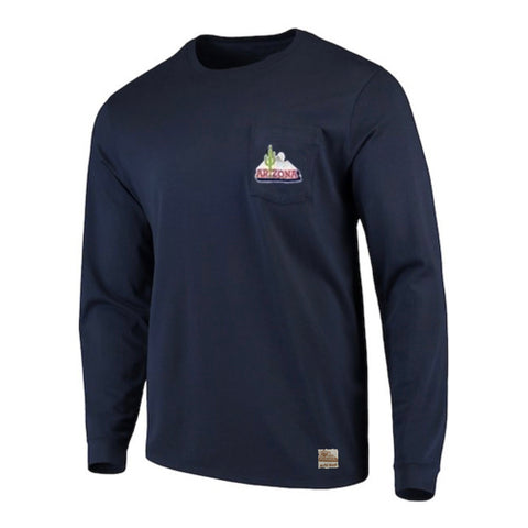 NCAA ARIZONA WILDCATS HEAVYWEIGHT LS POCKET RETRO BRAND TEE - NAVY