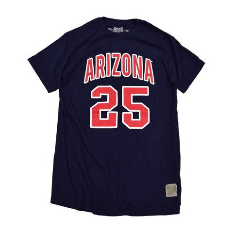 NCAA ARIZONA WILDCATS STEVE KERR PLAYER RETRO BRAND TEE - NAVY