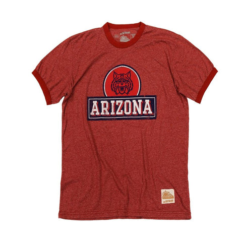 NCAA ARIZONA WILDCATS MOCK TWIST RETRO BRAND TEE - RED