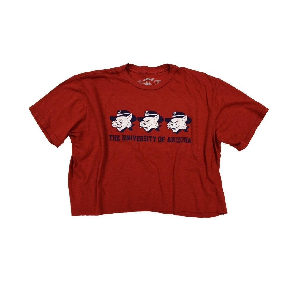 NCAA ARIZONA WILDCATS WOMEN'S SLUB CROP RETRO BRAND TEE - RED