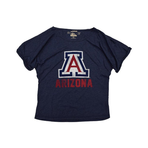 NCAA ARIZONA WILDCATS WOMEN'S ROLLUP BOATNECK RETRO BRAND TEE - NAVY