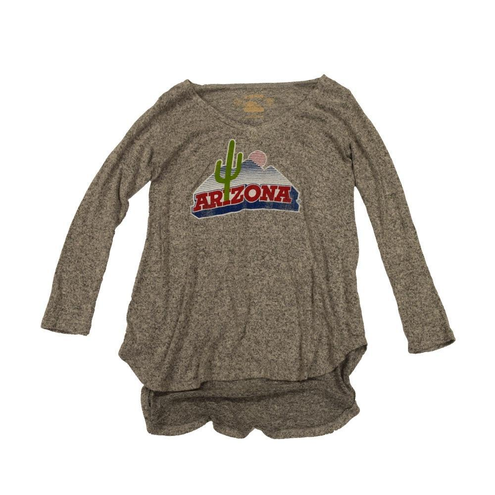 NCAA Arizona Wildcats Women's Hacci Tunic Retro Brand Sweatshirt - Grey