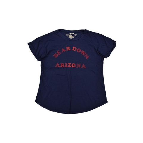 NCAA ARIZONA WILDCATS WOMEN'S ROLLUP SLEEVE SLUB RETRO BRAND TEE - NAVY