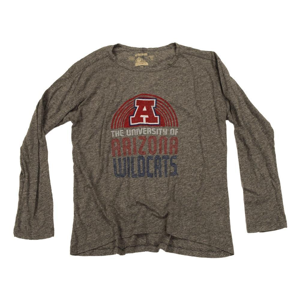NCAA ARIZONA WILDCATS WOMEN'S RELAXED RETRO BRAND LS TEE- GREY