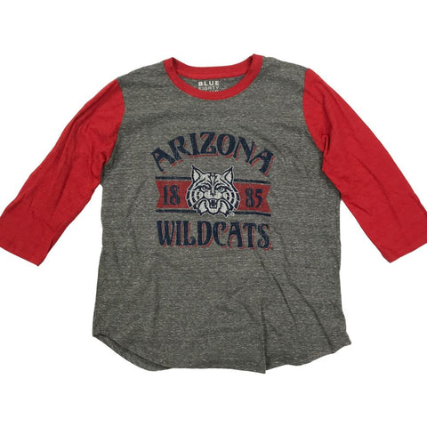 NCAA ARIZONA WILDCATS WOMEN'S UNICORN ACADEMY BASEBALL BLUE 84 TEE - RED