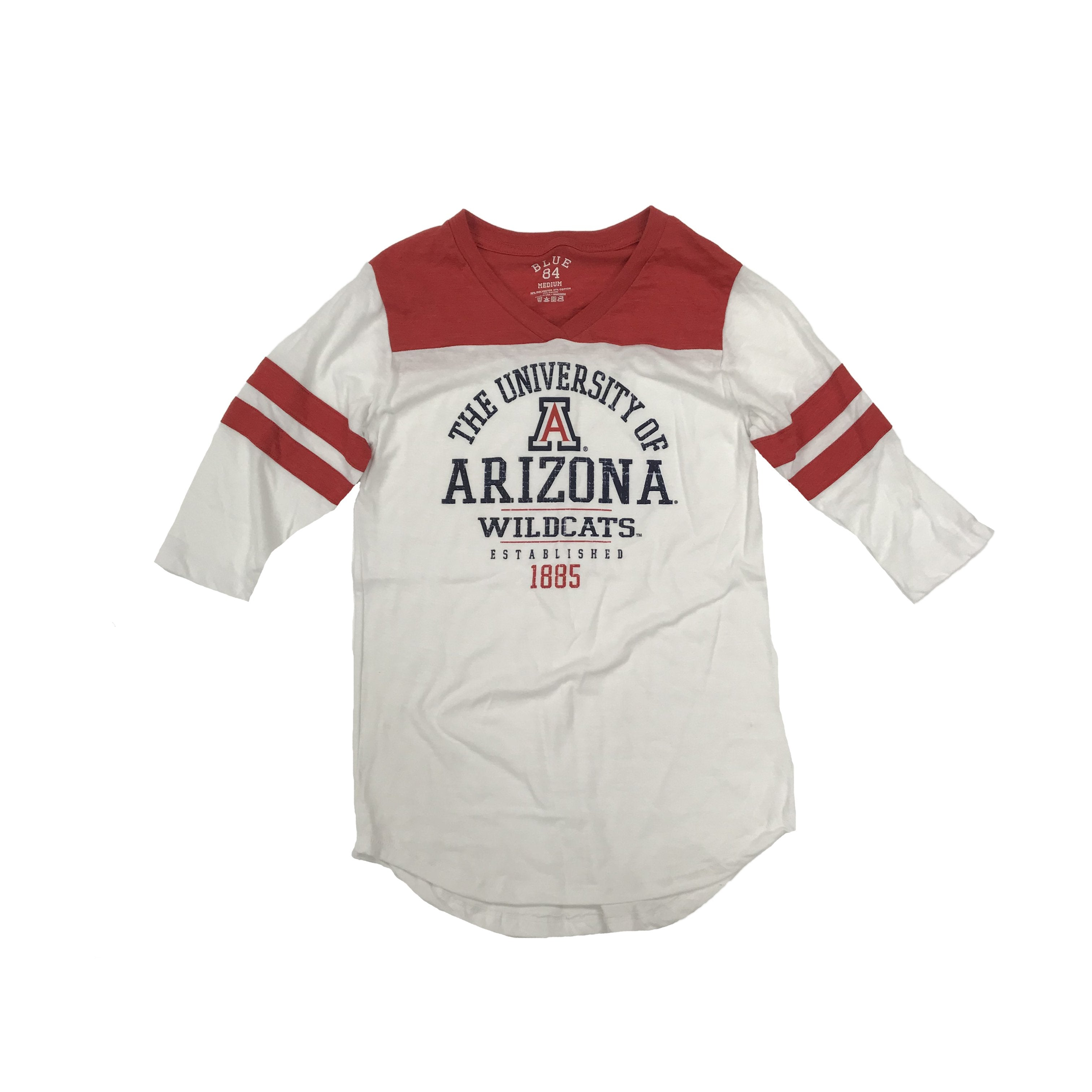 NCAA ARIZONA WILDCATS WOMEN'S INTERGALACTIC 3/4 BLUE 84 TEE - RED