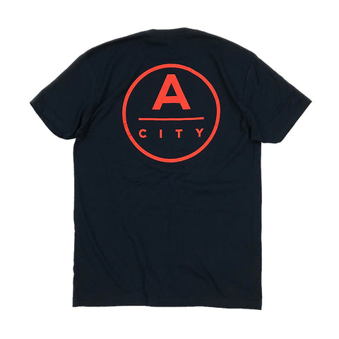 A-City Kimball Concepts Red Logo Tee - Navy