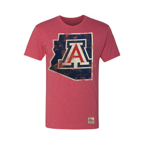 Arizona Wildcats State Distressed Logo Tee - Red