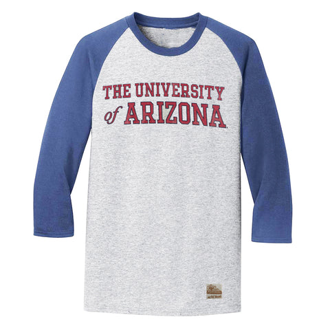 NCAA ARIZONA WILDCATS TRI COLOR LS RETRO BRAND RAGLAN - GREY