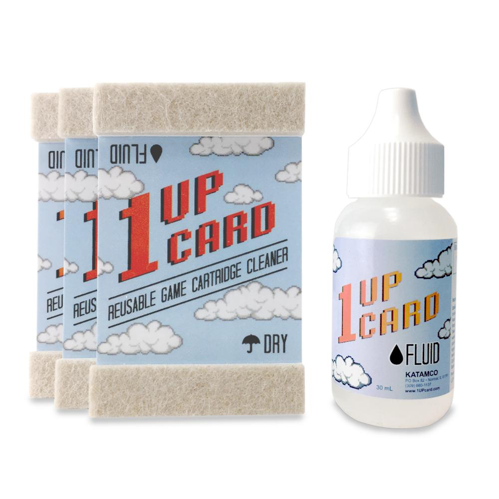 1UPcard Video Game Cartridge Cleaning Kit - 3 Pack with Fluid