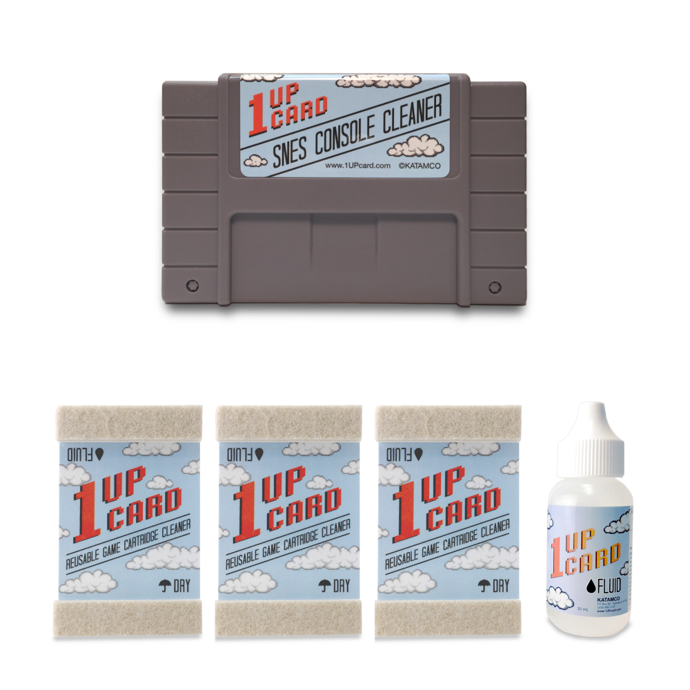 SNES Cleaning Kit by 1UPcard - Console and Game Cartridge Cleaner Bundle - (save 15%)
