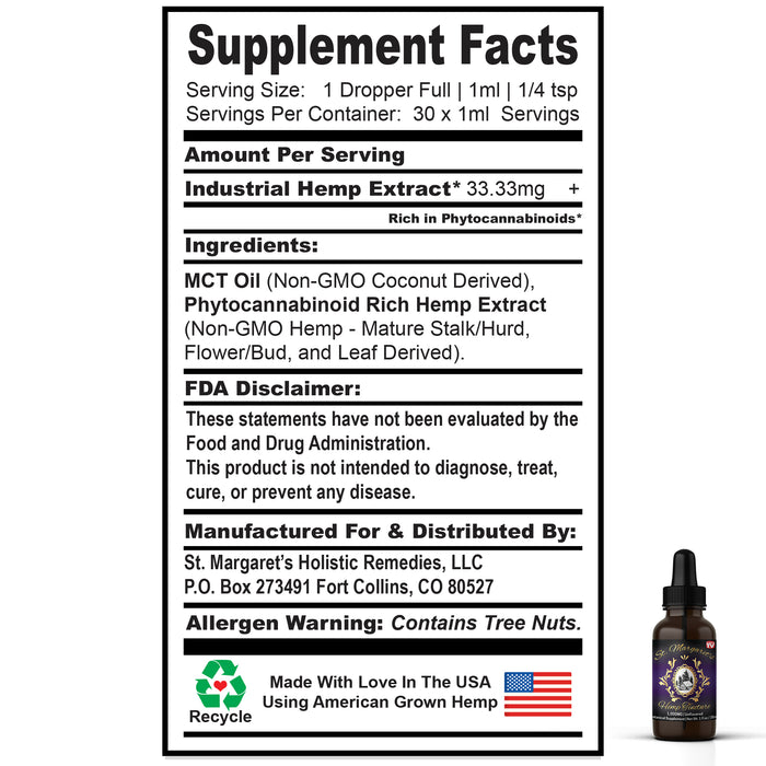 1,000mg Full-Spectrum Hemp Oil | MCT Tincture - 1oz/30ml | St. Margaret's Holistic Remedies, LLC | St. Margaret's Holistic Remedies, LLC | CBD Oil, CBD, CBD Vape Oil, what is cbd, cbd gummies, cbd hemp oil, cbd oil benefits