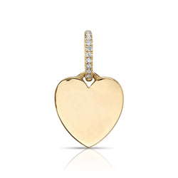 HANDCRAFTED 18K YELLOW GOLD HEART SHAPED CHARM WITH 0.05CTW OLD EUROPEAN CUT DIAMONDS SET IN JUMP RING | SINGLE STONE