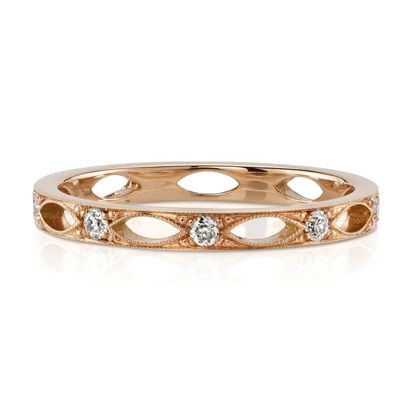 18K ROSE GOLD  ETERNITY BAND WITH 0.20CT OLD EUROPEAN CUT DIAMONDS | SINGLE STONE