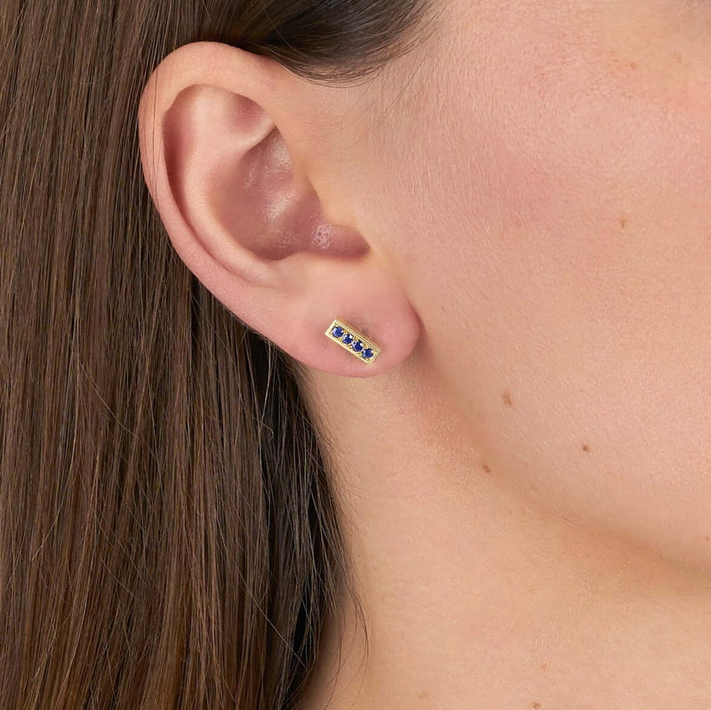 PAVE MONET STUDS WITH GEMSTONES
