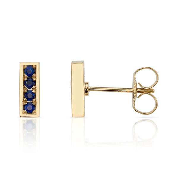 0.26CTW OLD EUROPEAN CUT SAPPHIRES SET IN 18K YELLOW GOLD BAR EARRINGS | SINGLE STONE