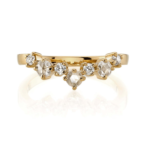 2MM CURVED 18K YELLOW GOLD BAND WITH 0.33CTW PRONG SET OLD EUROPEAN CUT DIAMONDS | SINGLE STONE