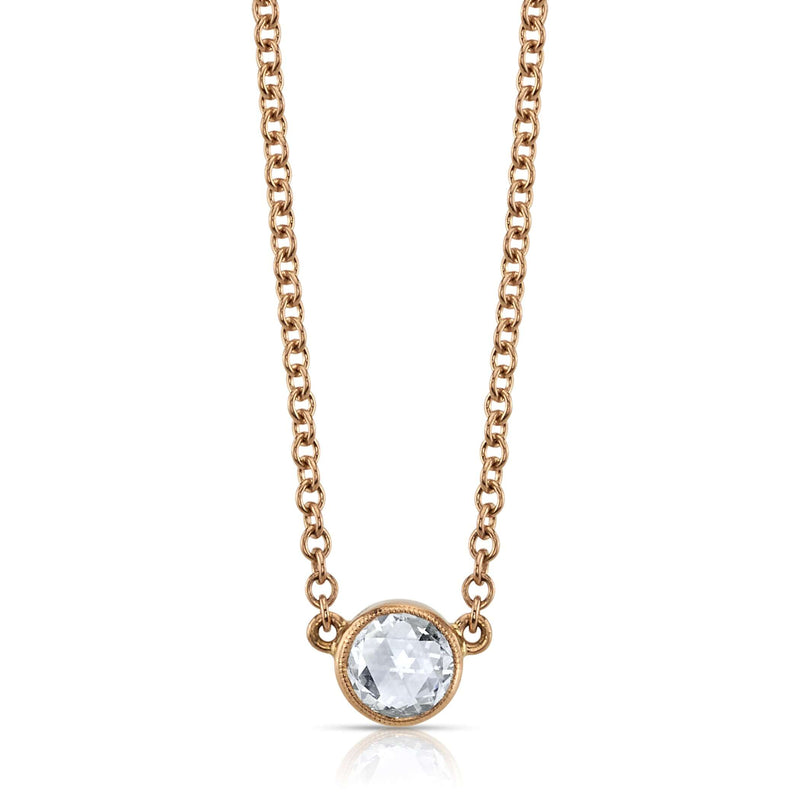 "0.44CT ROSE CUT DIAMOND SET IN AN 18K ROSE GOLD PENDANT ON AN 18"" 18K ROSE GOLD NECKLACE 