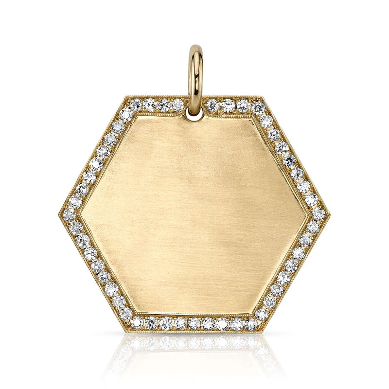 30MM 18K YELLOW GOLD HEXAGON PENDANT WITH PAVE FRAME | SINGLE STONE
