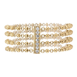 FOUR ROWS OF 18K YELLOW GOLD ROSARY CHAIN BRACELET SET ON A SLIDE CLASP W 0.06CTW ACCENT DIAMONDS | SINGLE STONE