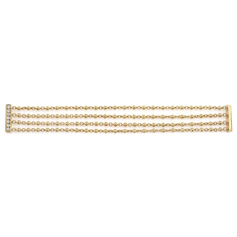 FLAT SET 4 ROW 18K YELLOW GOLD BRACELET | SINGLE STONE