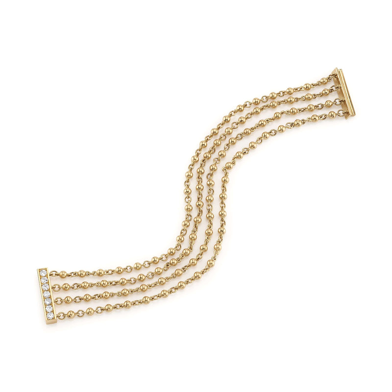 4 ROW 18K YELLOW GOLD BRACELET WITH DIAMOND SLIDE CLASP | SINGLE STONE