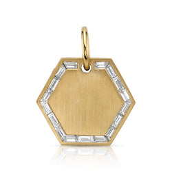 20MM BAGUETTE HEXAGON PENDANT - SINGLE STONE