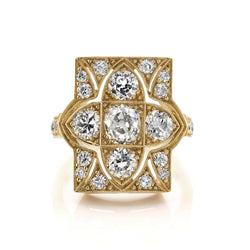 0.76CT CUSHION CUT DIAMOND WITH 1.73CTW ACCENT DIAMONDS SET IN AN OXIDIZED 18K YELLOW GOLD RING | SINGLE STONE