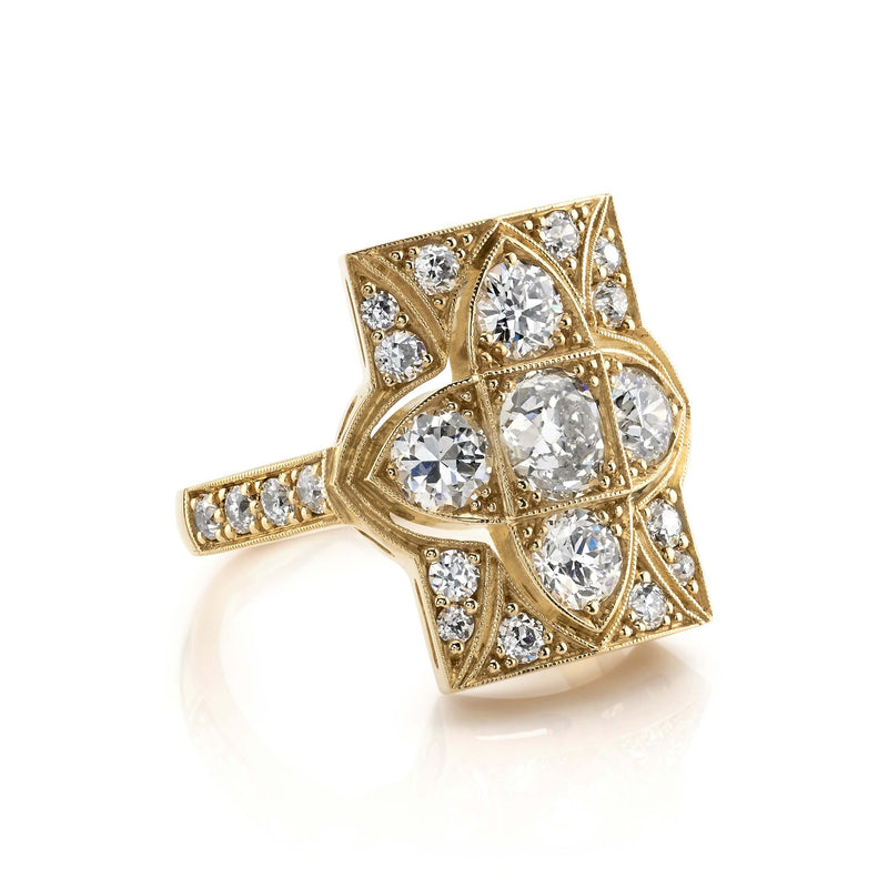SIDE VIEW OF OXIDIZED 18K YELLOW GOLD DIAMOND RING SHOWCASING ACCENT DIAMONDS | SINGLE STONE
