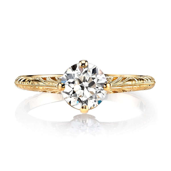 FILIGREED 18K YELLOW GOLD PRONG SET RING WITH 1.01 CT OLD EUROPEAN CUT DIAMOND AND 0.02 CT ACCENT DIAMONDS | SINGLE STONE