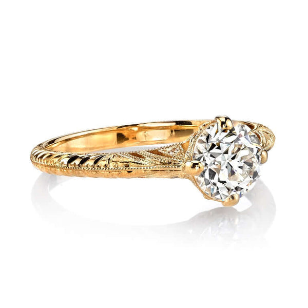 SIDE VIEW OF FILIGREED 18K YELLOW GOLD PRONG SET RING WITH 1.01 CT OLD EUROPEAN CUT DIAMOND AND 0.02 CT ACCENT DIAMONDS | SINGLE STONE