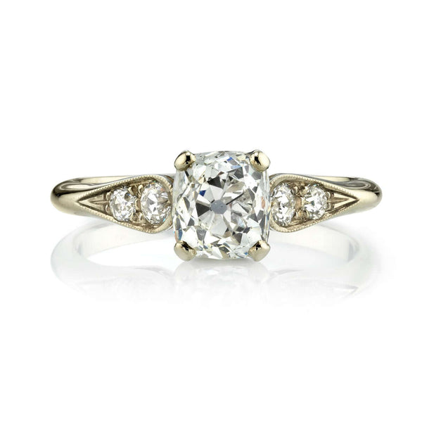 1.12CT CUSHION CUT DIAMOND WITH 0.22CT ACCENT DIAMONDS SET IN AN 18K CHAMPAGNE GOLD RING | SINGLE STONE