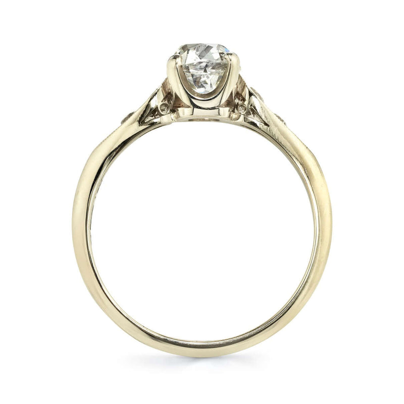 PROFILE VIEW OF 18K CHAMPAGNE GOLD DIAMOND RING SHOWCASING PRONG SETTING ON CENTER STONE | SINGLE STONE