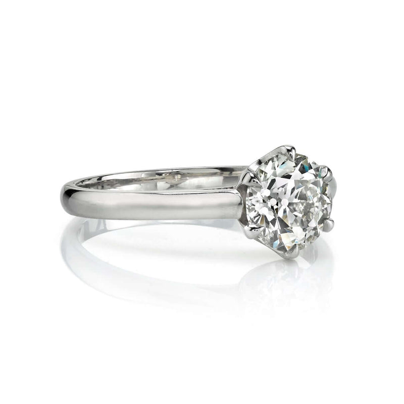 SIDE VIEW OF A 1.00CT OLD EUROPEAN CUT DIAMOND PRONG SET IN A PLATINUM MOUNTING | SINGLE STONE