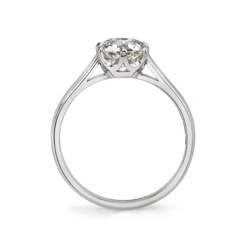 PROFILE VIEW OF A PLATINUM PRONG SET DIAMOND RING | SINGLE STONE