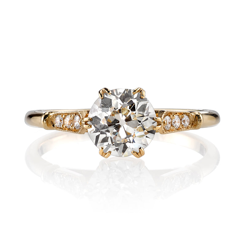 1.19CT J/VS1 OLD EUROPEAN CUT DIAMOND WITH 0.05CTW ACCENTS SET IN AN 18K YELLOW GOLD RING | SINGLE STONE
