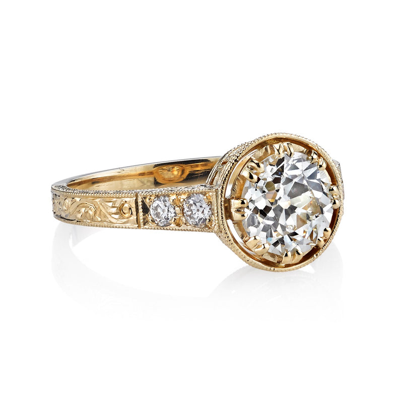 SIDE VIEW OF 1.20CT OLD EUROPEAN CUT DIAMOND SET IN AN 18K YELLOW GOLD RING DISPLAYING SHANK DETAIL | SINGLE STONE