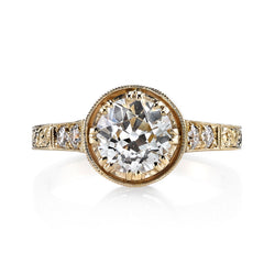 1.20CT OLD EUROPEAN CUT DIAMOND WITH 0.13CT ACCENT DIAMONDS SET IN AN 18K YELLOW GOLD RING | SINGLE STONE