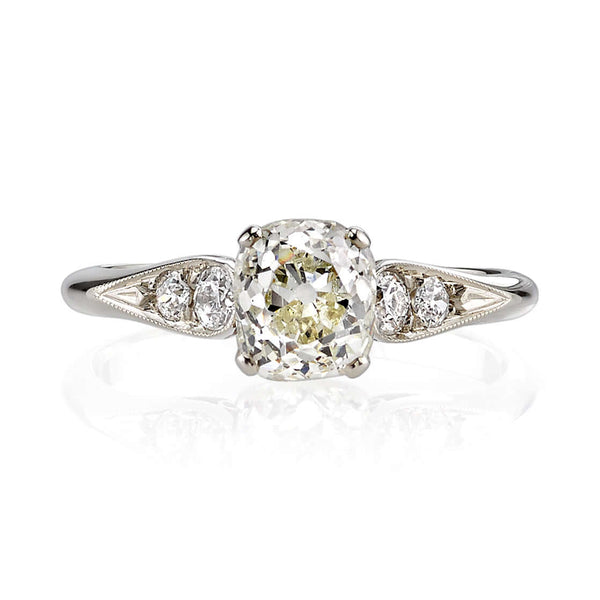 1.23CT CUSHION CUT DIAMOND WITH 0.18CT ACCENT DIAMONDS SET IN AN 18K CHAMPAGNE GOLD RING | SINGLE STONE