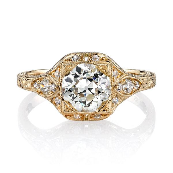 1.24CT OLD EUROPEAN CUT DIAMOND WITH 0.19CTW ACCENT DIAMONDS SET IN AN 18K YELLOW GOLD BAND | SINGLE STONE