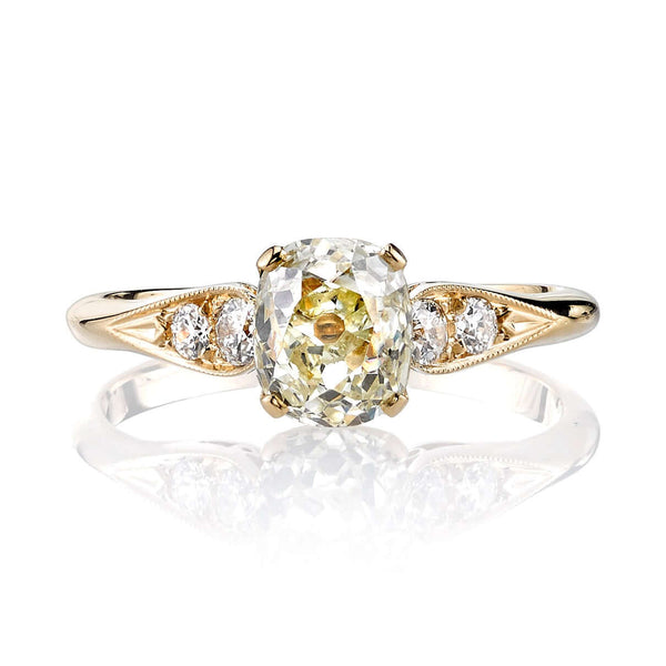 1.26CT CUSHION CUT DIAMOND WITH 0.17CT ACCENT DIAMONDS SET IN AN 18K YELLOW GOLD RING | SINGLE STONE