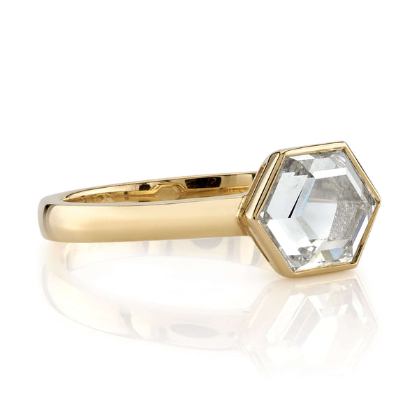 SIDE VIEW OF 18K YELLOW GOLD RING WITH A BEZEL SET 1.47CT HEXAGONAL CUT DIAMOND | SINGLE STONE