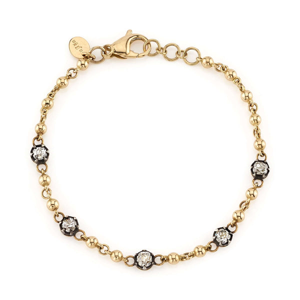 5 CUSHION CUT DIAMONDS IN OXIDIXED PRONG SETTINGS ON AN 18K YELLOW GOLD ROSARY BRACELET | SINGLE STONE