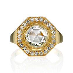 1.88CT M/SI1 ROSE CUT DIAMOND WITH 0.36CTW ACCENT DIAMONDS SET IN AN 18K YELLOW GOLD RING | SINGLE STONE