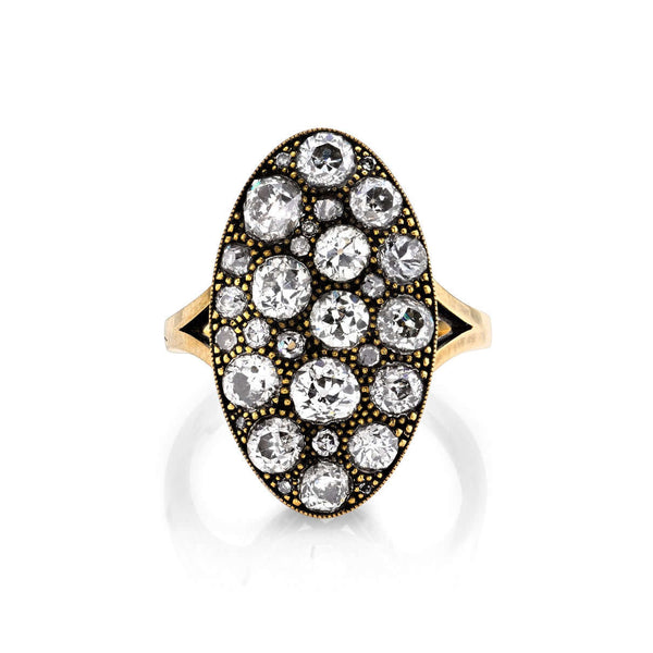 OXIDIZED 18K GOLD MOVAL COBBLESTONE DIAMOND RING | SINGLE STONE