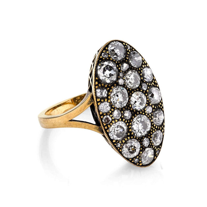 SIDE VIEW OF OXIDIZED 18K GOLD MOVAL COBBLESTONE DIAMOND RING | SINGLE STONE