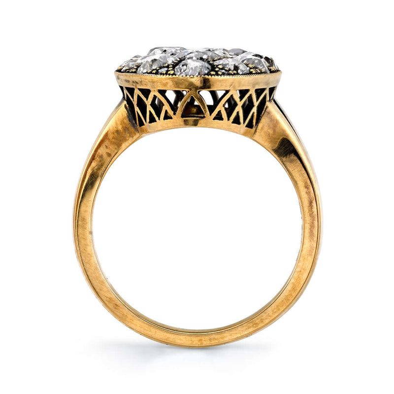 PROFILE VIEW OF OXIDIZED 18K GOLD MOVAL COBBLESTONE RING | SINGLE STONE